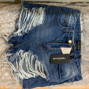 PLT distressed denim shorts